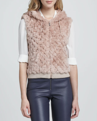 Alice + Olivia Jael Hooded Fur Vest