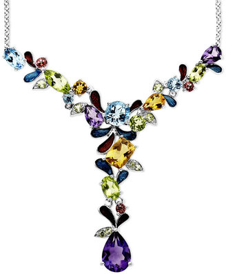Town & Country Sterling Silver Necklace, Multistone Cluster Necklace