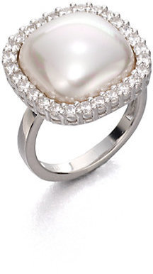 Majorica 15MM White Square Mabe Pearl & Sterling Silver Halo Ring