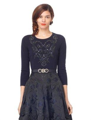 Oscar de la Renta 3/4 Sleeve Embroidered Pullover