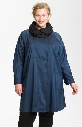 Mycra Pac Designer Wear Reversible Pleat Hood Packable Travel Coat (Plus Size)