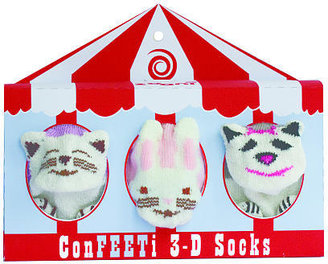 Zooni Confeeti 3D Sock Gift Set of Three - (0-12 Months) - Girl