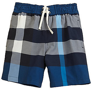 Burberry Little Boy's Check Swim Trunks