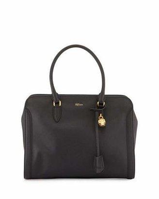 Alexander McQueen Medium Padlock Satchel Bag, Black $1,495 thestylecure.com