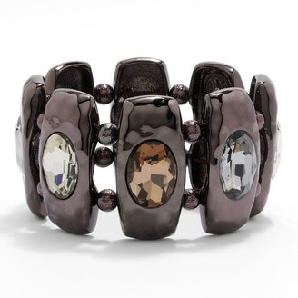 Dana Buchman chocolate brown simulated crystal textured stretch bracelet