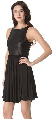 One by marna ro Shirred Waist Dress with Leather Bodice