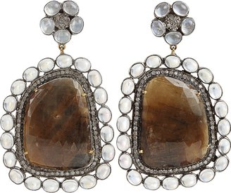 DORIE LOVE Brown-Sapphire Slice and Moonstone Earrings