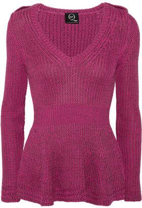 McQ by Alexander McQueen Ribbed cotton-blend peplum sweater