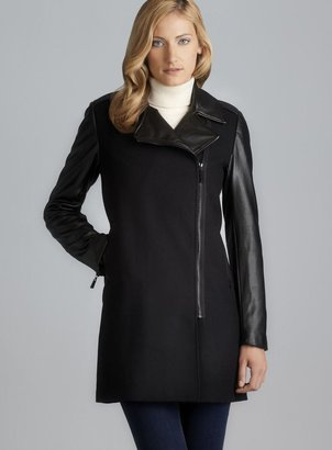 Vince Camuto Faux Leather & Wool Zipper Coat
