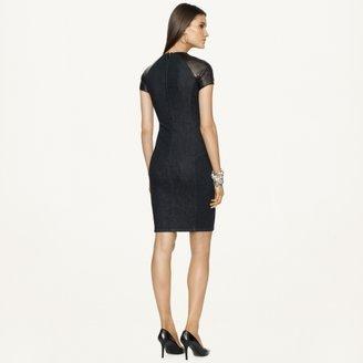 Ralph Lauren Black Label Denim Leather-Trimmed Denim Dress
