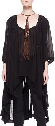 Donna Karan 3/4-Sleeve Jersey Tunic with Long Back