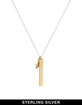 Asos & Wear That There Sterling Silver Gold Plated 'Take Me To London' Necklace with Gold Star Charm - Gold