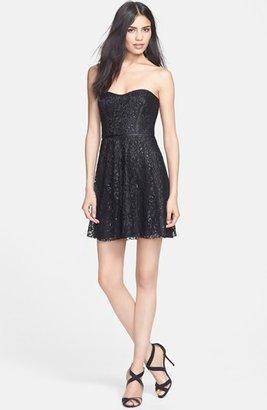 Parker 'Eva' Metallic Lace Fit & Flare Dress