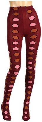 Anna Sui Big Multi Dot Sweater Tight (Merlot) - Hosiery