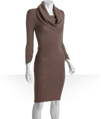 BCBGMAXAZRIA taupe stretch cotton blend cowl neck ruched sweater dress