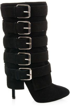 Giuseppe Zanotti FOR BALMAIN - Suede boots with straps and buckles
