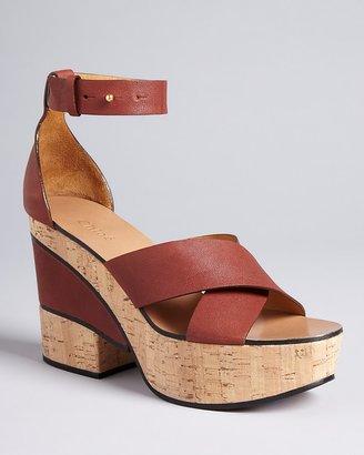 Chloé Cork Wedge Platform Sandals