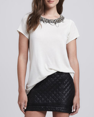 Haute Hippie Quilted Leather Zip Miniskirt