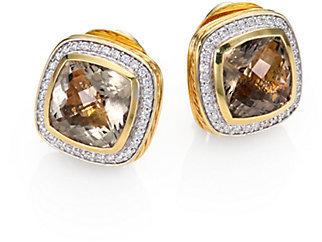 David Yurman Smoky Quartz, Diamond & 18K Yellow Gold Earrings
