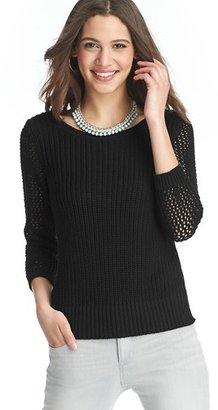 LOFT Textured 3/4 Sleeve Cotton Sweater