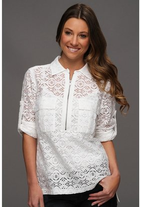 BCBGMAXAZRIA Noemie Blouse with Lace (White) - Apparel