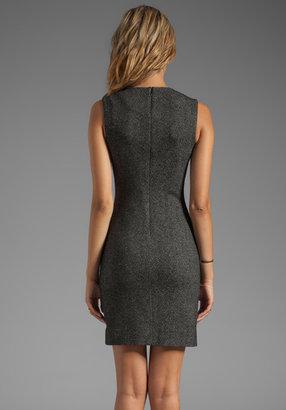 Diane von Furstenberg Pentra Mini Weave Jacquard Dress in Black/White