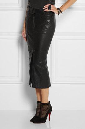 Haider Ackermann Leather midi skirt
