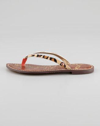 Sam Edelman Gracie Animal-Print Calf Hair Thong Sandal