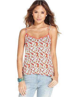 Ultra Flirt Juniors' Printed Lace-Trimmed Top