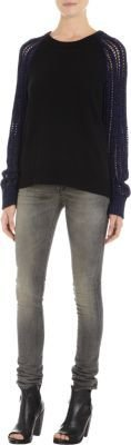 Leroy & Perry Metallic Knit Sleeves Sweater