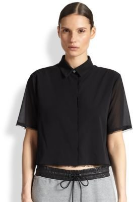Alexander Wang Stretch Silk Cropped Frayed Shirt