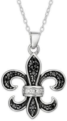Unwritten Sterling Silver Necklace, Black Cubic Zirconia Fleur De Lis Pendant (1.65mm)