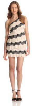 Max & Cleo Women's One Shoulder Tiered Lace Dress