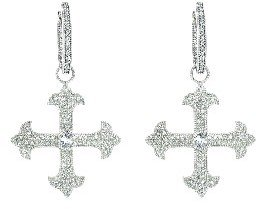 Jude Frances White Sapphire Fleur Cross Charms - Sterling Silver