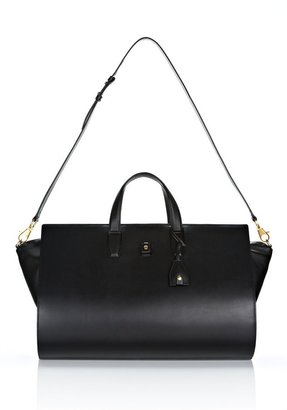 Alexander Wang Pelican Weekender In Black Leather With Gold