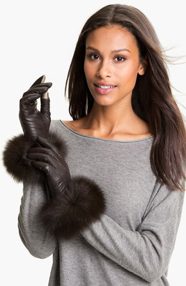 Dena Products Genuine Fox Fur & Leather Tech Gloves