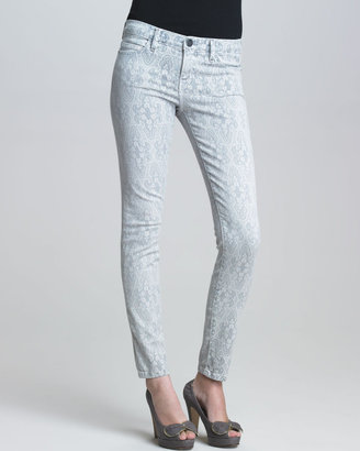 Current/Elliott The Low-Rise Ankle Skinny Gray Lace-Print Jeans