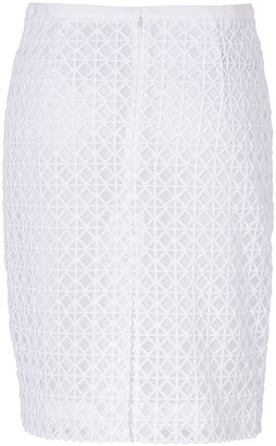 Moschino White Embroidered Pencil Skirt
