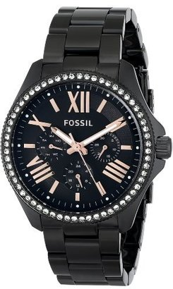 Fossil Women's AM4522 Cecile Crystal-Accented Black Stainless Steel Watch $165 thestylecure.com