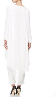 ADAM by Adam Lippes Long-Sleeve Pleated-Back Tunic/Dress, White