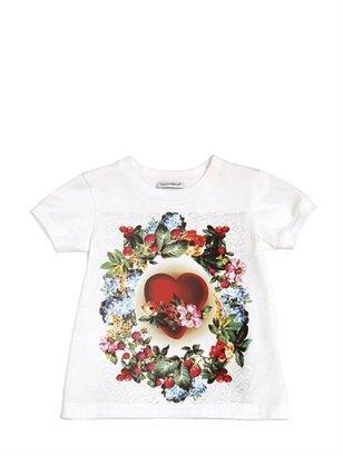 Dolce & Gabbana Heart Printed Cotton Jersey T-Shirt