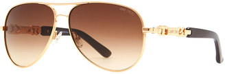 Jimmy Choo Reese Chain-Temple Aviator Sunglasses, Rose Gold
