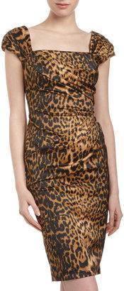 Tadashi Shoji Cheetah-Print Cap-Sleeve Dress