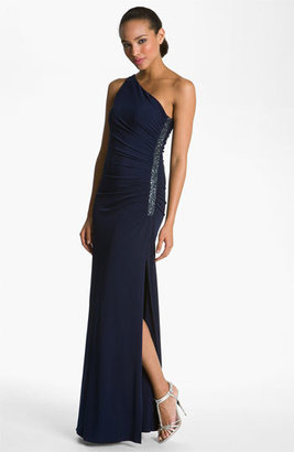 Laundry by Shelli Segal Beaded Panel One Shoulder Jersey Gown