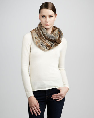 Adrienne Landau Knitted Rabbit Fur Infinity Scarf, Brown