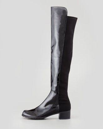Stuart Weitzman Reserve Narrow Patent Stretch-Back Over-the-Knee Boot, Black