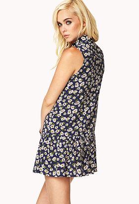 Forever 21 Floral Drop Waist Shirt Dress
