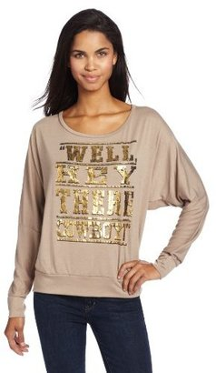 Wrangler Women's Knit Long Sleeve Well Hey There Cowboy Distressed Foil Shirt