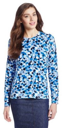Foxcroft Women's Circle Print Cardigan Sweater