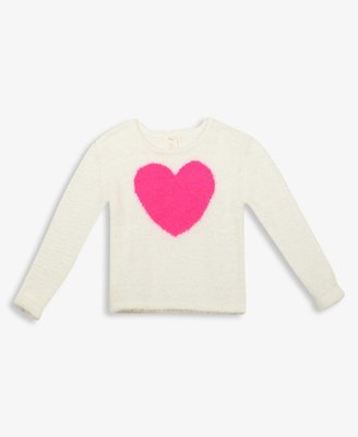 FOREVER 21 girls Girls Fuzzy Heart Sweater
